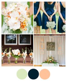navy with muted peach and green--kinda along the lines of the bridesmaid dresses we saw?