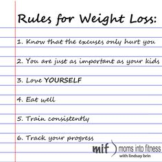Rules for weight loss #momsintofitness #weightloss #fitness #workoutsformoms