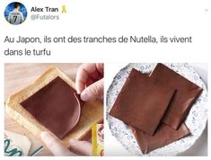 Rough transltion: they have Nutella sheets in Japan! Funny Tweets, Funny Memes, Jokes, Stupid Memes, Funny Fails, Videos Funny, Funny Shit, Funny Stuff, French Meme