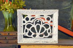 Cast Iron Vent Cover Grate Decorative White by MerlesVintage