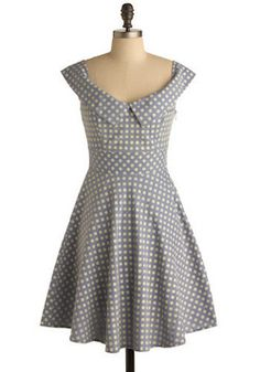 Afternoon Company Dress in Polka Dots. Float carefree and confident in this fabulously lightweight, sleeveless chambray frock!  #modcloth