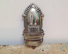 Vintage French Holy water font made of tin metal by karmolijntje