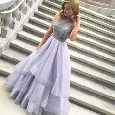 A-line Jewel Floor Length Tiered Lavender Prom Dress