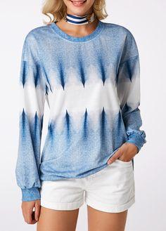 Long Sleeve Round Neck Printed Blue Sweatshirt m Types Of Sleeves, Sleeve Types, Printed Sweatshirts, Long Hoodie, Fall Outfits, Pullover, Long Sleeve, Bat Sleeve, Casual