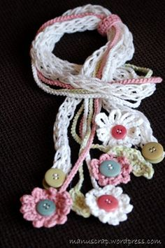 Crochet necklace - make a bit longer and wider and it would be a lovely scarf...
