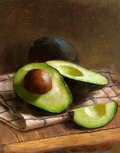 """Avocados"" Robert Papp {contemporary art botanical still life fruit painting}"