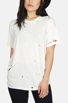 Vintage Beat It Thrashed Plain White 50/50 Tee - One More Chance Boutique
