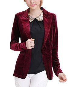 MFrannie One Button Velvet Blazer Notched Lapels Stretchy Office Work Jacket Maroon S *** Learn more by visiting the image link. (This is an affiliate link) #WomensAutomnFashionBlazersSuitJackets