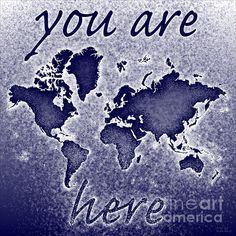 World Map Novo Square with 'You Are Here' text In Blue by elevencorners. World map art wall print decor. #elevencorners #mapnovo