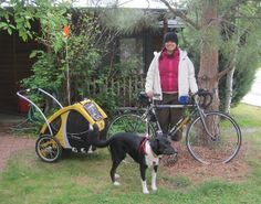 "How to travel by bike with a dog? In ""An Awesome Gal and Her Awesome Pup,"" Amanda and her border collie Astro packed up and hit the open road last summer."