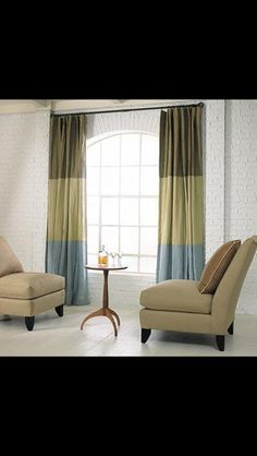 Color block curtain panels Burlap Curtains, Window Curtains, Curtain Panels, Custom Curtains, Drapery Fabric, Striped Curtains, Room Window, Blackout Curtains, Color Block Curtains