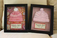 Shadow boxes with hospital hats.