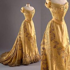 """""""""""Oak Leaf"""" evening dress, by the House of Worth, ca. 1902. Designed for Mary Curzon. Fashion Museum, Bath """""""