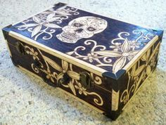 Wood burned sugar skull with flowers box