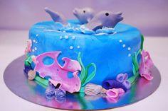 Dolphin cake Dolphin Birthday Cakes, Dolphin Birthday Parties, Dolphin Cakes, Dolphin Party, Cupcake Birthday Cake, Birthday Cake Girls, Cupcake Cakes, Ocean Cakes, Beach Cakes