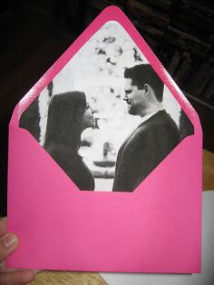 DIY:  How to line your envelopes with a picture!  Will be awesome for save-the-dates or the actual invitations. :)