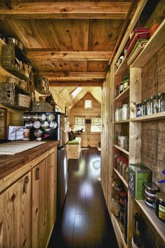 shallow pantry shelving, magnetic containers, leather cabinet door pulls (don't stick out) & more4less http://www.pinterest.com/pin/74450200064526570/