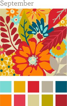 September Colors. I will be choosing 3 of these for my wedding colors.