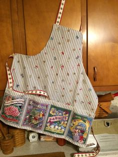 Apron from an apron panel all sewn up. Found the panel at a yard sale