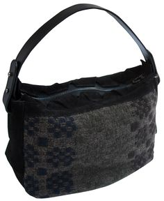 Musa bag in handwoven fabric innu brown. leather handle