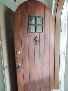 Entry door to a Mission Style home.