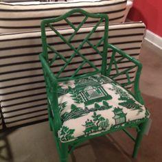 Jade Nanjing Bamboo Chair at C.I love painted bamboo! Green Furniture, Bamboo Furniture, Painted Furniture, Diy Furniture, Bamboo Chairs, Unique Home Decor, Modern Decor, Painted Bamboo, Faux Bamboo
