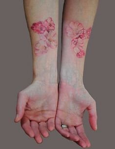 Watercolor cherry blossom tattoo