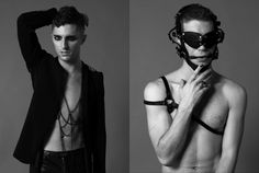 Left: Blazer is ZARA, Faux Leather Pants are Silence & Noise, Body Jewelry is TOPMAN, Right: Leather Hood is Priape Leather, Half-harness is Priape Leather, Ring is H