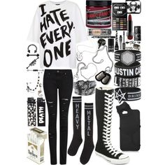 A fashion look from October 2013 featuring white cotton t shirts, destroyed skinny jeans and metal socks. Browse and shop related looks. Cute Emo Outfits, Scene Outfits, Teenage Girl Outfits, Punk Outfits, Gothic Outfits, Grunge Outfits, Fashion Outfits, Fashion Trends, Alternative Outfits