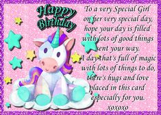 Sweet unicorn magical wishes for a special little girl. Free online For A Special Glrl ecards on Birthday Birthday Wishes Funny, Birthday Songs, Birthday Fun, Very Happy Birthday, Special Birthday, Happy Birthday Banners, Special Girl, Special Day, Beautiful Birthday Cards