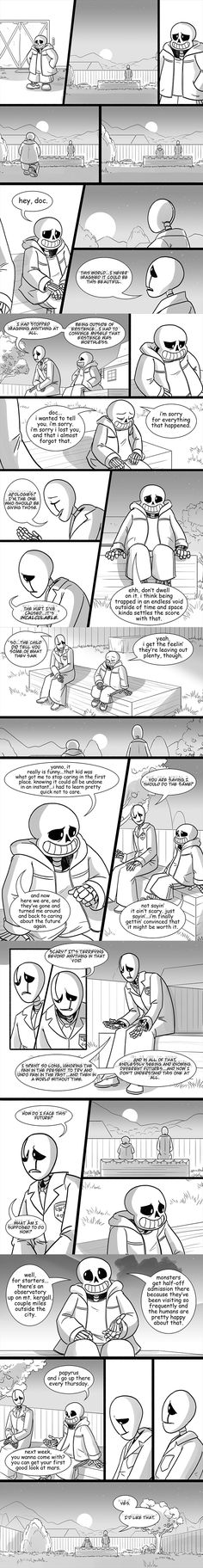 e926 2016 absurd_res animated_skeleton bone building clothed clothing comic dialogue duo fence gaster grass hi_res lab_coat lynxgriffin male outside sans_(undertale) sitting skeleton smile speech_bubble sunset text tree undead undertale video_games