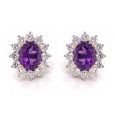 Amethyst Claw Set Oval  Diamond Cluster Studs 3.66ct Diamond Drop Earrings, Oval Diamond, Stone Earrings, Diamond Studs, Deep Purple, Aurora, Heart Ring, Amethyst, White Gold