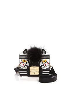 FURLA Metropolis Zebra Print Mini Fur And Leather Crossbody. #furla #bags #shoulder bags #fur #crossbody #