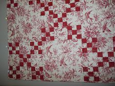 Lit and Laundry: red and white toile quilt | Quilt Inspiration ... : toile quilting fabric - Adamdwight.com