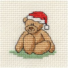 Hobbycraft Christmas Bear Mini Cross Stitch Kit 64cm. Cute little teddy ideal for hoop or Christmas tree ornament - BUY 3 FOR 2 kits! ;) Mo