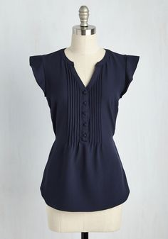 Expert In Your Zeal Top in Navy. Your boundless knowledge pulls your trivia night team to first place, and in this pintucked top you make the celebration look stylishly sweet! #blue #modcloth