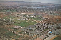 https://flic.kr/p/i7RSb | Costa Mesa High  69 | Mesa High from the air in 1969...Newport Back Bay is the water in the distance, Orange Coast College in the foreground.