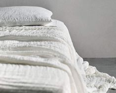 A gorgeous standalone dreamy bed cover or layered up with our other blankets or throws. The design is the outcome of a slow hand looming process made in India by textile artisans. Layers of gauzy linen weave are joined by pick stitching resulting in a dappled effect in the weave. subtle elegant finishes; a tufted fring Sleep Rituals, Slow Hands, Pick Stitch, Natural Sleep, Sleep Quality, Bed Throws, Bed Covers, Good Night Sleep, Linen Bedding