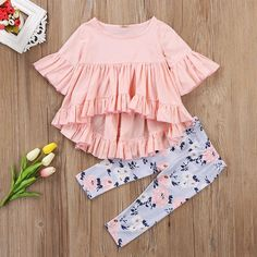 Infant Toddler Girls Ruffle Top with Floral Pant Set. Department Name: Baby Item Type: Sets Style: Fashion Fit: Fits true to size, take your normal size Pattern Type: Floral Gender: Baby Girls Material: Cotton