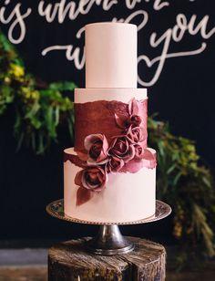 Marsala rose wedding cake. #StyleMe Pretty for #ohsoinspired15 http://www.stylemepretty.com/california-weddings/sonoma/2015/08/24/oh-so-inspired-retreat-giveaway/