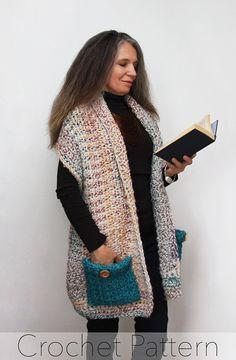 Reader's Wrap Crochet PATTERN / Pocket Shawl / PDF / Made in Canada