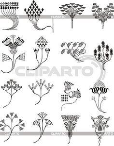 Einfache florale Ornamente im Jugendstil   Stock Vektorgrafik   ID 2026463