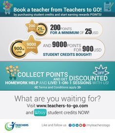 Book a Teacher from Teachers To Go by purchasing students Credits and Start Earning Rewards Points!  Collect POINTS and GET Discounted! for more details  visit us at www.teachers-to-go.com  ‪#‎ExperienceTeacherstoGo‬ ‪#‎FunWayofLearning‬ ‪#‎HomeworkHelp‬ ‪#‎StudentCredit‬ ‪#‎Rewards‬ ‪#‎BuyCredit‬