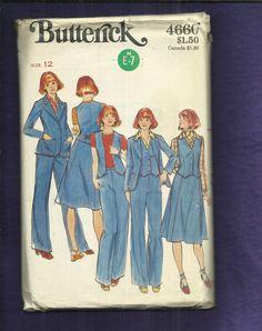 1970er Jahren Butterick 4660 Blazer Weste einen Linie Rock &