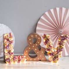 Flower Initial Letter Lights With Solid Ampersand - room decorations