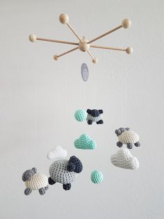 Baby Knitting Patterns Toys Mobile – Mobile XL & # Sheep Clouds & # crocheted & # gray / mint & # – e … Crochet Crafts, Yarn Crafts, Crochet Toys, Crochet Projects, Diy And Crafts, Crochet Baby Mobiles, Crochet Mobile, Baby Knitting Patterns, Garlands