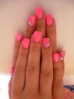 Pink rhinestone gel nails