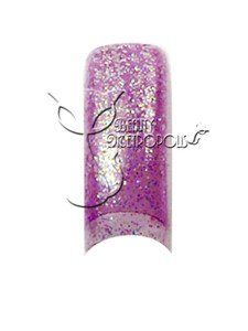 Light Purple Glitter Nail Tips (70 pcs.) by Beauty Metropolis. $9.99. Save time and effort while offering your clients intricate airbrushed nail designs that will keep them coming back.  Create a stunning set of designer french nails or file to the desired shape before applying clear acrylic or UV gel overlay.  Charge extra for designed tips and watch your income grow.  Includes 10 sizes, packed in clear bag.  Colors may slightly differ due to the monitor.  The actual pro...