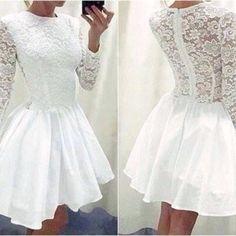 White Prom Dress,Long Sleeve Prom Dress,Lace Prom Dress,Fashion
