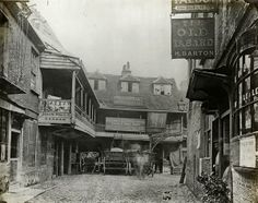 The Tabard Inn, Borough High Street, London. First established in 1307 and destroyed by fire in the Century. The Tabard Inn, Borough High Street, London. First established in 1307 and destroyed by fire in the Century. Victorian London, Vintage London, Old London, Pubs In London, Victorian Street, London Street, East London, London City, Victorian Life